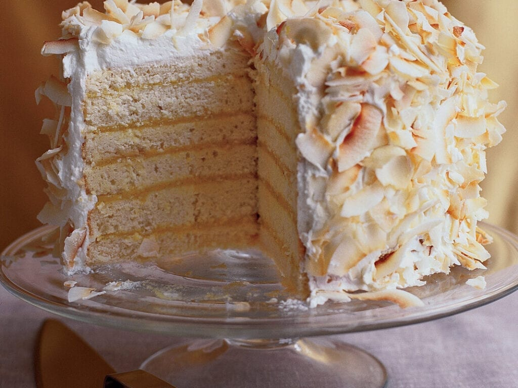 A decorated cake with many layers.