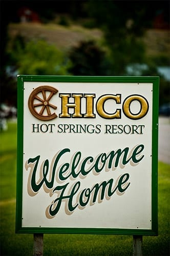 """""""Welcome Home"""" sign at the Chico Hot Springs Resort, Montana"""